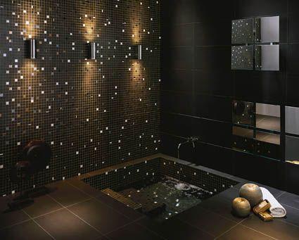 mustat mosaiikkilaatat kylpyhuone - Google Search