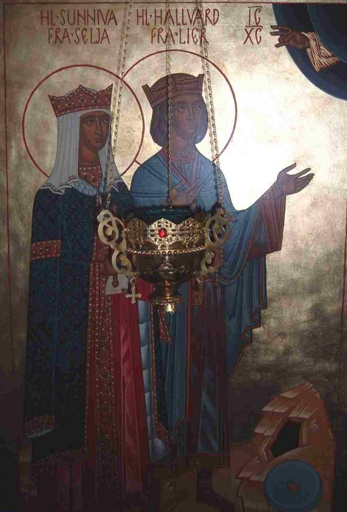 Sts. Sunniva and Hallvard of Norway (July 8 and May 15) St. Halvard Vebjørnsson, patron saint of Oslo, Norway, was of the region of Lier, near Oslo. His mother, Torny, was related to King St. Olaf, the enlightener of Norway. A woman named Suniva (Sunniva) had fled to Halvard's ship for sanctuary from false accusers. For harbouring her, Halvard was put to death. The men shot arrows and killed both Halvard and Suniva.