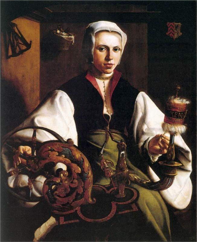 Portrait of a Lady Spinning, 1531  Maerten van Heemskerck. lovely shapes, colors, cut of blouse.
