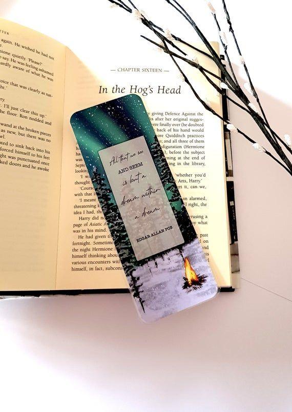 Laminated Bookmark Edgar Allan Poe Quote Northern Lights Etsy Edgar Allan Poe Edgar Allan Poe Quote Poe Quotes