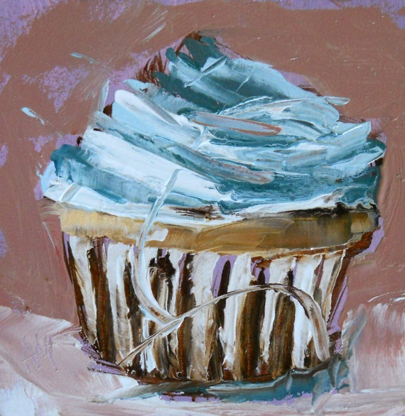Cupcake painting made in acrylic. This artist used various colors to build up the right texture of the cupcake.