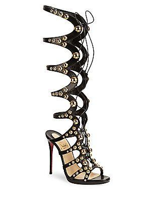 2e4163dcd118 Christian Louboutin Amazoutiful Knee-High Leather Gladiator Heels ...