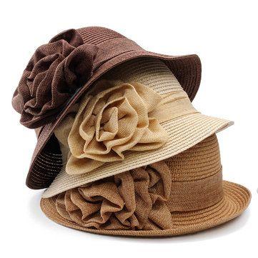Women Ladies Summer Straw Hat Beauty Ruffle Flower Side Flip Bucket Cloche Beach Cap
