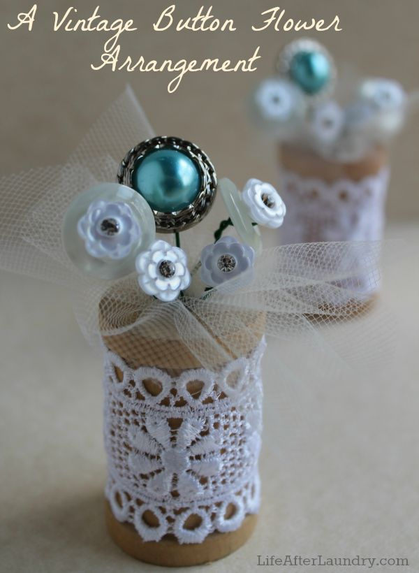 A Vintage Button Flower Arrangement | Life After LaundryLife After Laundry