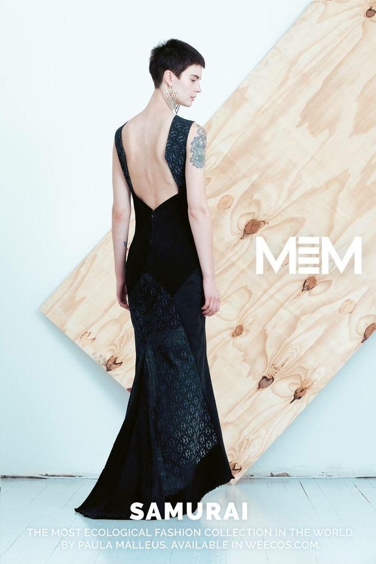 Pure postconsumer denim design MEM samurai 2017 Tori eveningdress - back