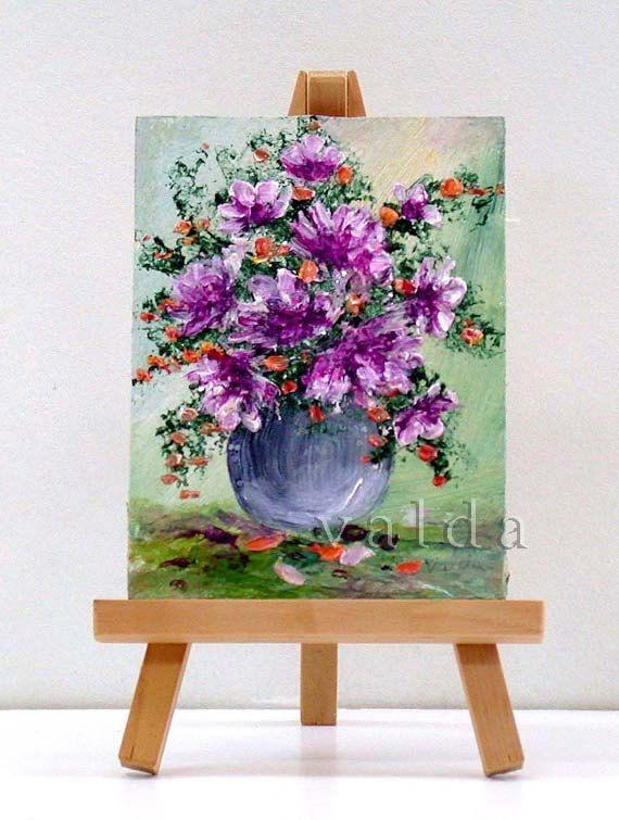 Floral Arrangement art  3x4 miniature painting gift