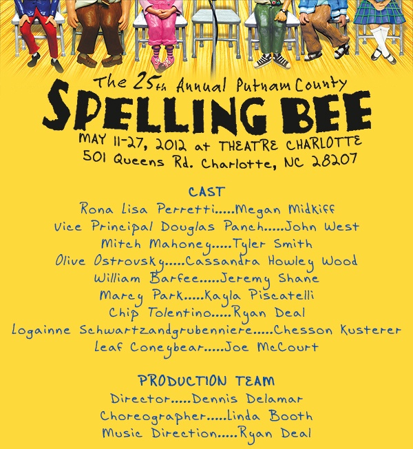 """Cast list for """"The 25th Annual Putnam County Spelling Bee """" at Theatre Charlotte"""