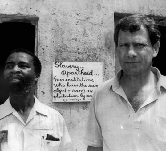 Former South African president Thabo Mbeki (left) with Frederik Van Zyl Slabbert when Mbeki was a leader of an African National Congress delegation.