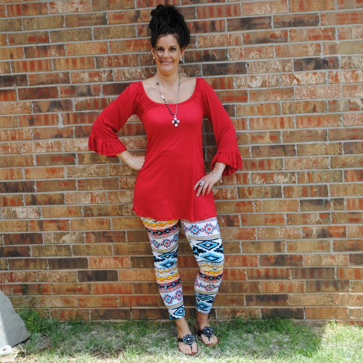 One Faith Boutique - Red Scoop Neck Ruffle Sleeve Top, $19.99 (http://www.onefaithboutique.com/tops/red-scoop-neck-ruffle-sleeve-top/)
