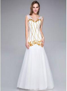 Платья для выпускного вечера - $173.99 - Раструб/Платье-русалка V-образный Длина до пола Тюль Платье Для Выпускного Вечера с Бисер блестками  http://www.dressfirst.ru/Trumpet-Mermaid-V-Neck-Floor-Length-Tulle-Prom-Dress-With-Beading-Sequins-018042751-g42751