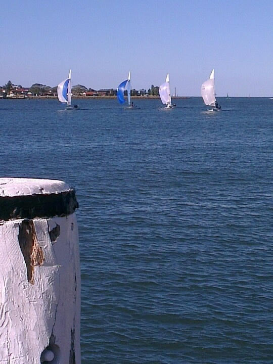 Sailboats on Newcastle harbour (Photo by me using HTC smart phone)