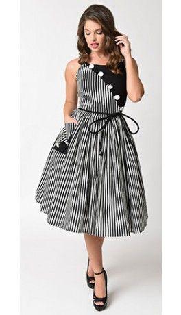 Preorder -  Unique Vintage 1950s Style Black & White Stripe Hamilton Swing Dress