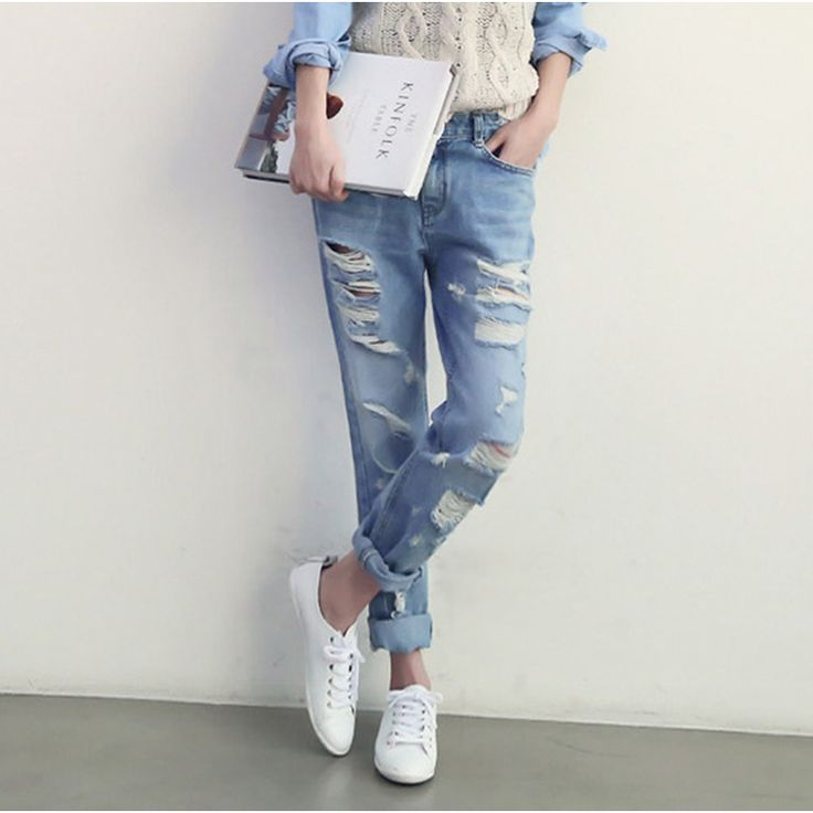 2016 High Quality Women Hots Jeans Light Bule Pencil Pant For Female Ripped Denim Pant Skinny Hole Women Jean american apparel