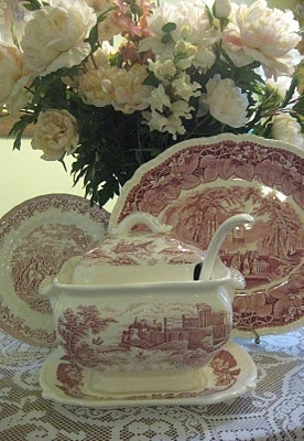 Victorian1885: Charity shop find..Red Transferware Soup Tureen!