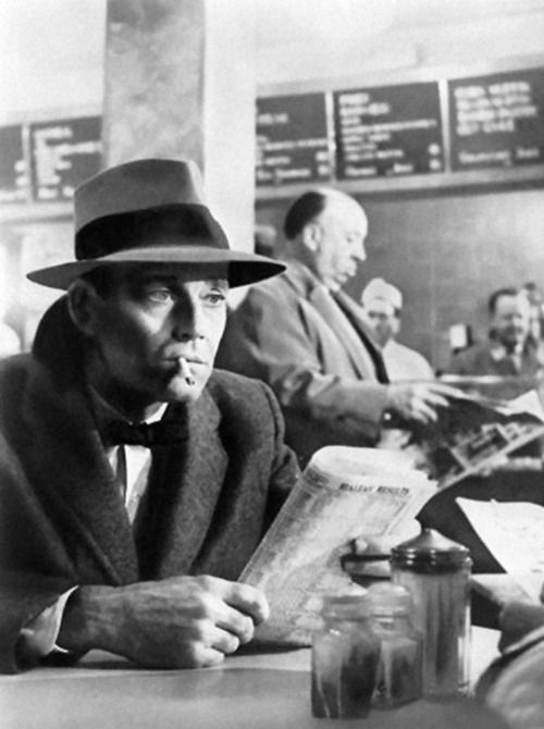 Henry Fonda and Alfred Hitchcock in his cameo, in The Wrong Man (1956)  -via finestrasulcortile