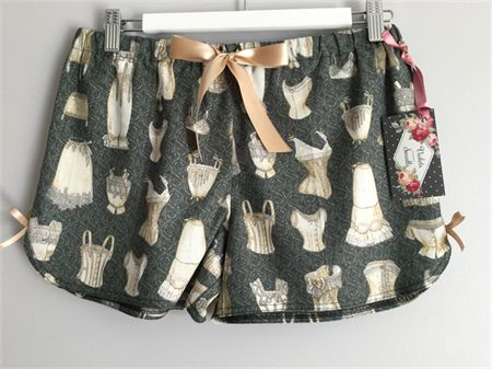Lovely Cotton Sleep Shorts in vintage corset fabric
