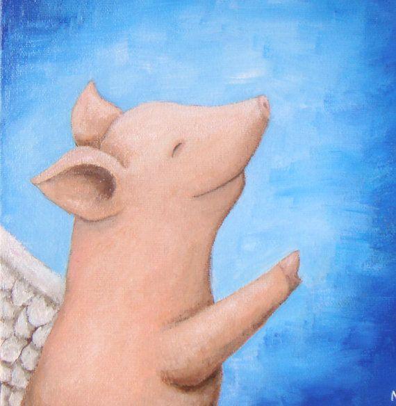 Original Painting Flying Pig Smile Illustration Sky by mikaart, $89.99