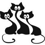 Черные котята - скачать монохромные схемы вышивки