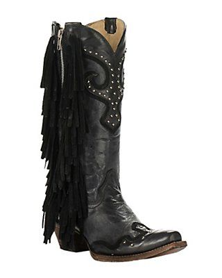 Corral Women's Black and Grey Distressed with Studs and Side Fringe Snip Toe Western Fashion Boots