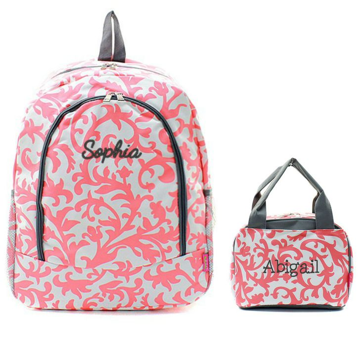 Matching Floral Coral Gray Personalized Kids Backpack & Lunch Bag Set