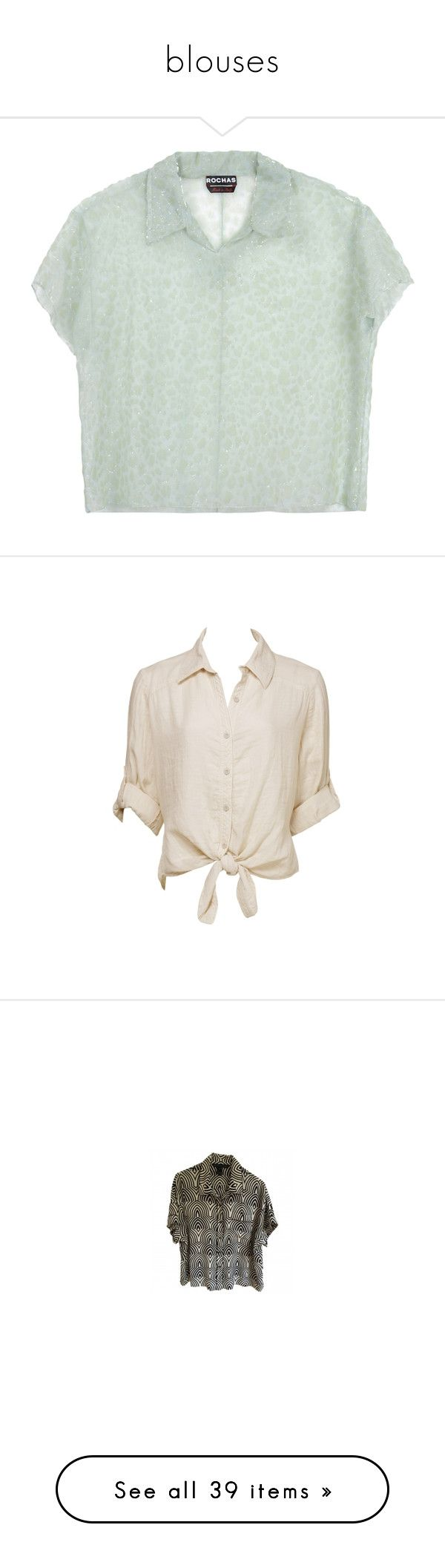 """""""blouses"""" by flowersinponds ❤ liked on Polyvore featuring tops, blouses, shirts, rochas, t-shirts, light green, short sleeve tops, shirt blouse, short sleeve blouse and green shirt"""