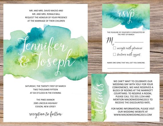 Watercolor Invitation Suite / Available in digital format or professionally printed / Wedding Invitation, RSVP, Information or Accommodation Insert Card, Postcard, Save The Date / Matching Menus Available