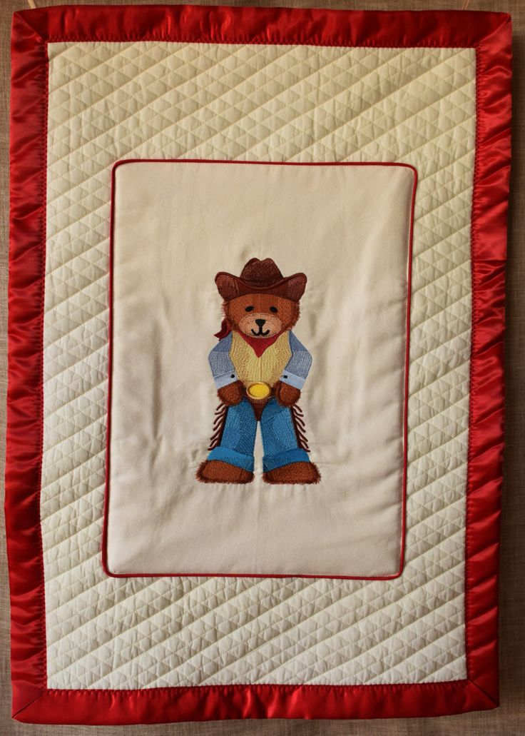 "Baby Blanket with ""cowboy bear"" Embroidered for the Cool Buckaroo Baby or Toddler in Your Family, washable, great shower Gift! by NestingInstinctShop on Etsy"