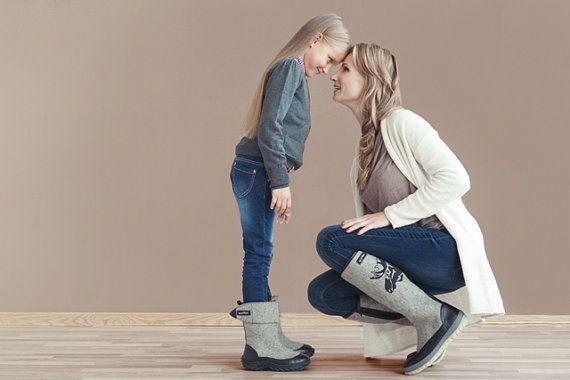 grey felt boots valenki for kids unisex  winter by myfeltboots, €83.00