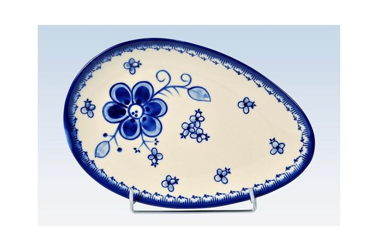 Håndmalet oval fad/tallerken 25 cm. - Art Blue 296