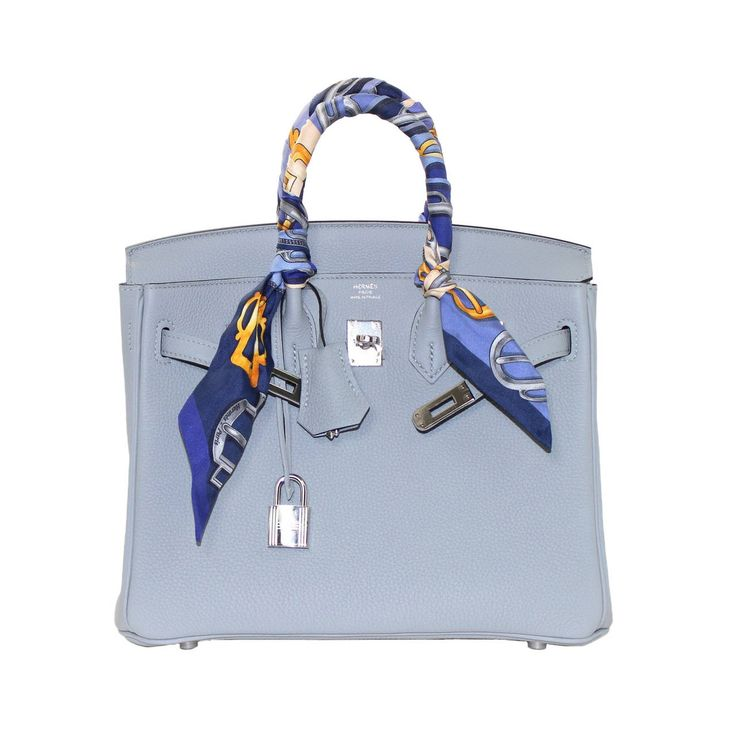 Hermes Glacier Blue Togo 25 cm Birkin Bag- New Color | See more vintage Hermes Birkin Bags at https://www.1stdibs.com/fashion/handbags-purses-bags/top-handle-bags/hermes-birkin-bags in 1stdibs