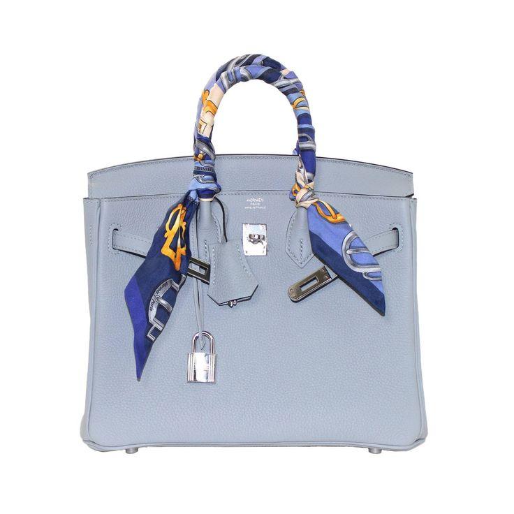 Hermes Glacier Blue Togo 25 cm Birkin Bag- New Color | See more vintage Hermes Birkin Bags at https://www.1stdibs.com/fashion/handbags-purses-bags/top-handle-bags/hermes-birkin-bags in 1stdibs