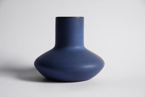 Mid Century Dark Blue Cor Unum Vase (2) - Dutch Pottery c.70s 80s