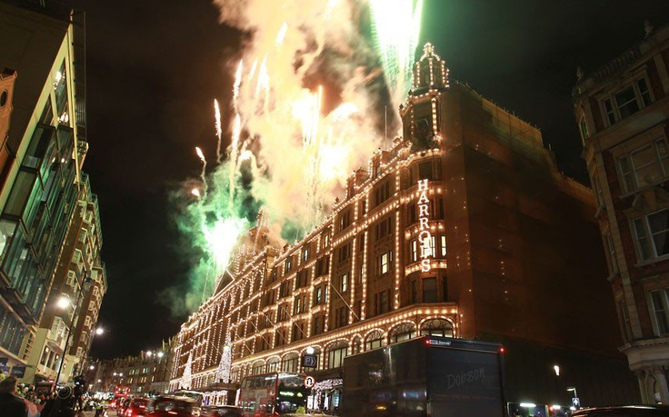 Fireworks explode during the switching-on of the Christmas lights at Harrods in London 2012 - Picture: Fred Duval/Getty Images