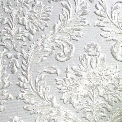 Brewster RD80027 Anaglypta Paintable Large Traditional Damask Wallpaper, 21-Inch by 396-Inch, White by Brewster