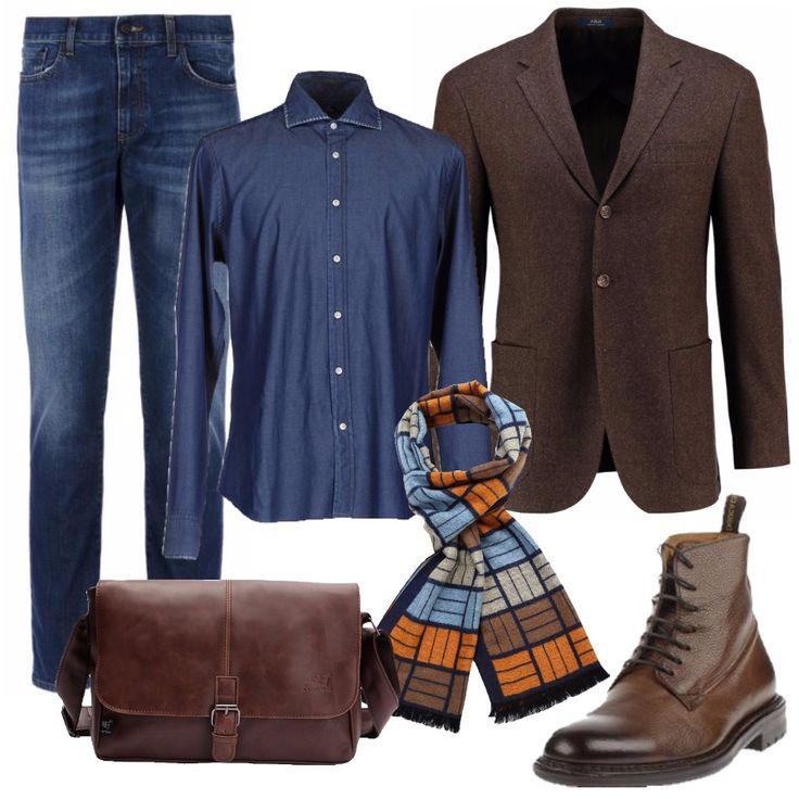 Il cuore di questo look è senza dubbio il jeans, padrone sia nei pantaloni che nella camicia. Sopra una giacca dal taglio classico marrone. Ai piedi comodi stivaletti stringati. Per completare una sciarpa sui toni del marrone e azzurro, ma con un tocco di arancione per illuminare un po' l'outfit. La comoda borsa a tracolla permette di portare in giro appunti, computer, documenti.