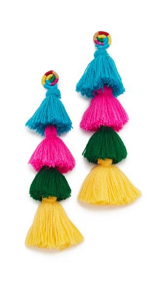 Soft, colorful tassels dangle from these yarn-wrapped All Things Mochi earrings. Post closure.