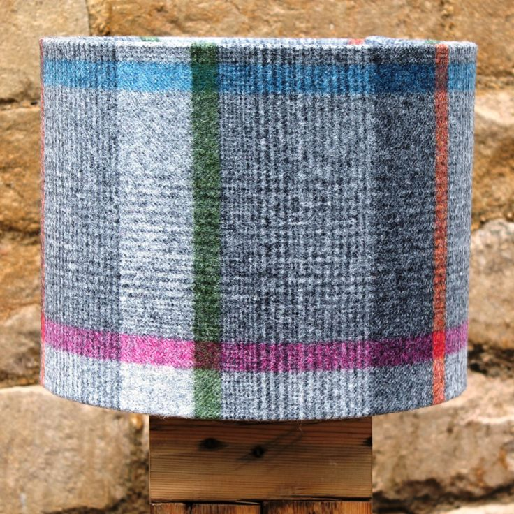 Luxury Multicoloured Check Wool Drum Light Shade, fabulously unique designs www.serendipityhomeinteriors.com