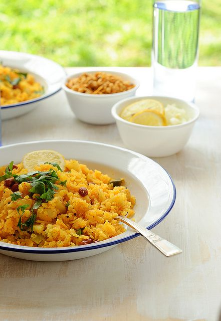 "Original pinner notes ""Delicious and filling breakfast vegan recipe Gujarati Batata Poha."" Love many Indian breakfast; dosa, iddlies... intrigued, yes I am. https://www.facebook.com/CrescentDragonwagonFearlessly"