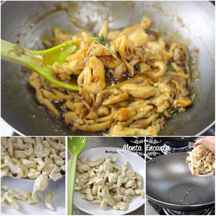 FRANGO COM SHIMEJI Ao invés de, simplesmente, fritar os filés de frango, que tal antes corta-lo em tiras finas, para então grelha-lo com um pouco de manteiga, juntar shimeji branco, dedo de moça misturar e colocar shoyu encorpado com amido de milho?  Uma maneira super gostosa de variar o menu do dia a dia, sem ter mais trabalho por isso http://www.montaencanta.com.br/misturas/frango-com-shimeji/