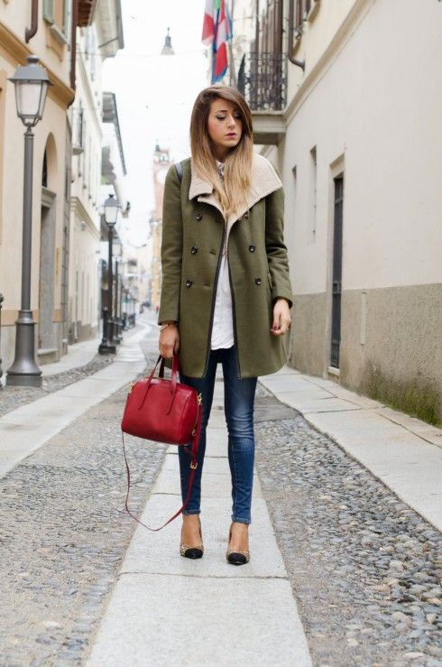 Olive green peacoat - Yes!Miss; Shirt - Zara; Jeans - Yes!Miss; Bag - Fossil; Make up - Dior   Scent of Obsession