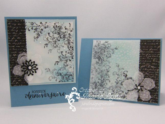 Deux cartes, deux techniques et le même sketch... Visitez http://jardindepapier.com/timeless-textures-stampinup pour tous les détails.