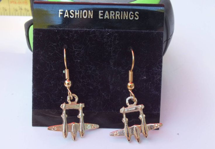 Vintage P-38 Lightning Fighter Plane Fashion Ladies Earrings, USAF US Air Force, Excellent Condition, Military Jewelry Collectible Item by GiftShopVintage on Etsy