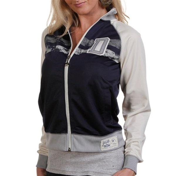 Love this!  http://www.ladyfanatics.com/NFL_Dallas_Cowboys_Ladies/Dallas_Cowboys_Ladies_Navy_Blue-Natural_De_Ville_Full_Zip_Track_Jacket