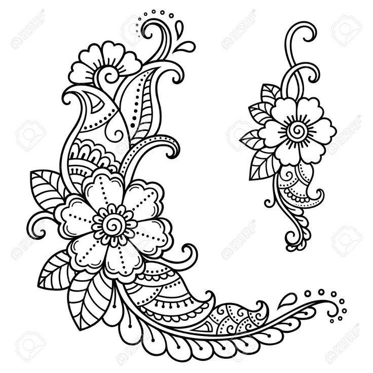 Vektor Henna Tattoo Blume Schablone Mehndi