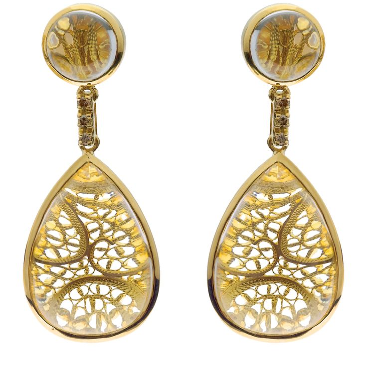 Eleuterio Jewels | Drop Earrings in Yellow Gold, Filigree, Diamonds and Crystal Cabuchon