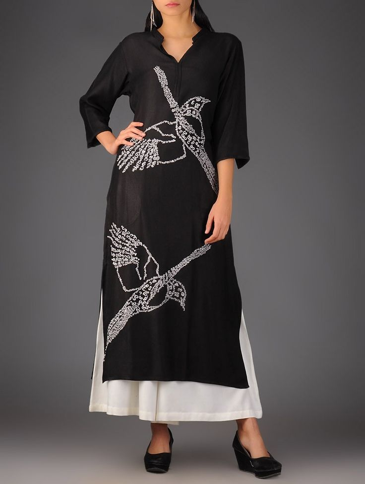 Buy Black Flying Bird Embroidered Kurta Viscose Twill Online at Jaypore.com