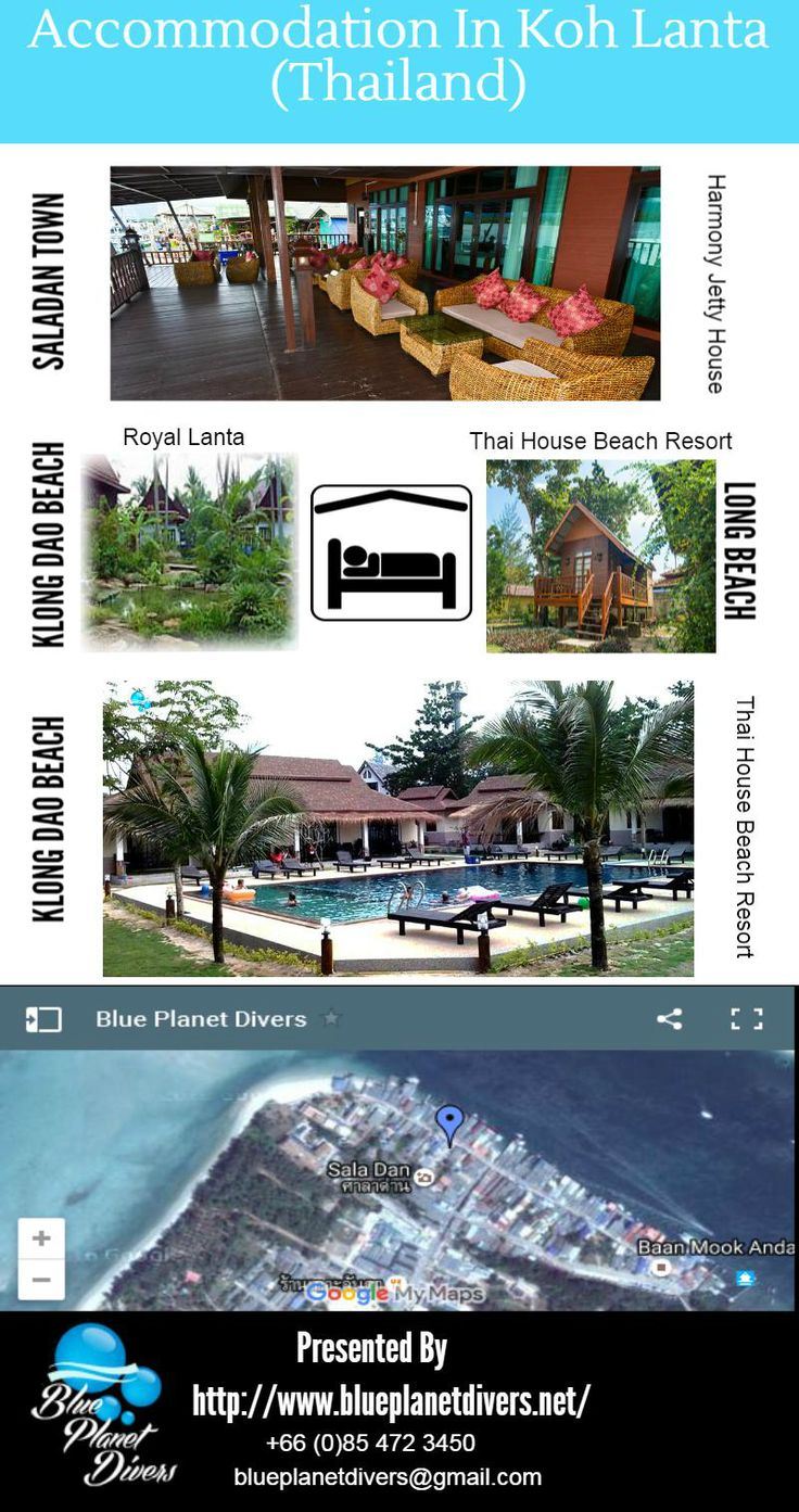 The resorts vary from quiet peaceful bungalows on a small plot of land right on the beach to the more luxurious resorts with many facilities and swimming pools.Some of them are listed below - 1. Harmony Jetty House 2. Royal Lanta 3. BANANA BEACH RESORT 4. Thai House Beach Resort