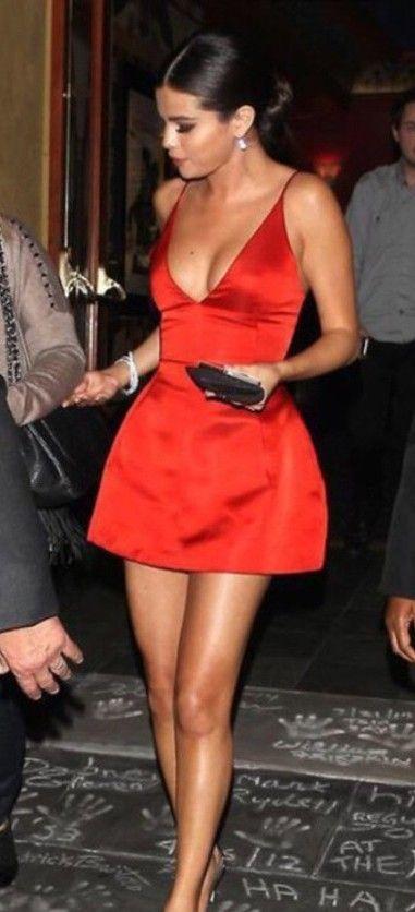 Aliexpress.com : buy hot&sexy v neck spaghetti strap selena gomez satin short cocktail party dress a line red carpet celebrity dresses 2014 from reliable celebrity #Dress #buyable