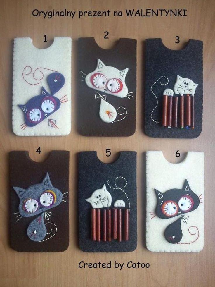 Foto: telefoonhoesjes van vilt met katjes, erg leuk. Geplaatst door…