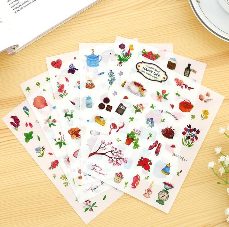 6 шт./упак. счастье красоты декоративные наклейки дневник наклейка записках украшения пвх канцелярские DIY наклейки купить на AliExpress
